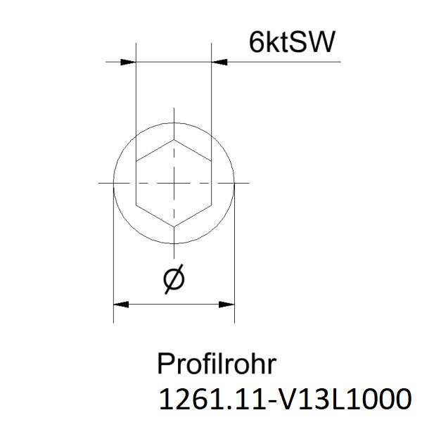 innen 6 kant SW9 Profilrohr Stahl blank aussen 6 kant SW12 Länge 1000mm